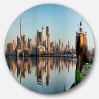 Designart 'Toronto City Skyline Panorama' Cityscape Photography Large Disc Metal Wall art