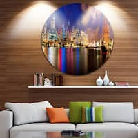 Designart 'Colorful Sydney Skyline' Cityscape Photography Round Wall Art