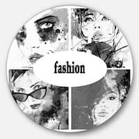 Designart 'Collage of Girl Faces' Portrait Digital Art Circle Wall Art