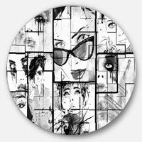 Designart 'Many Girl Faces Collage' Portrait Digital Art Large Disc Metal Wall art