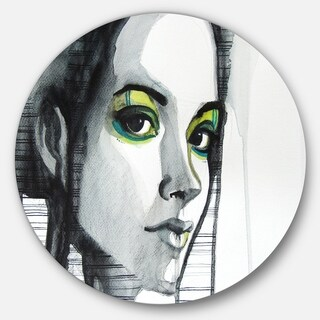 Designart 'Black Illustrated Girl' Portrait Painting Disc Metal Wall Art