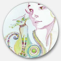 Designart 'Cute Girl with Cat' Portrait Painting Large Disc Metal Wall art