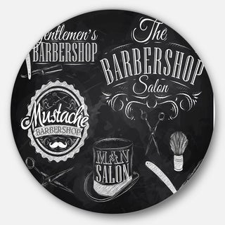 Designart 'Set Barbershop' Digital Art Circle Wall Art
