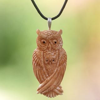 Handmade Bone Leather 'Brown Owl Family' Necklace (Indonesia)