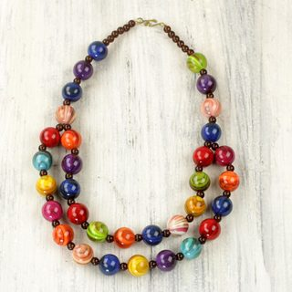 Handcrafted Recycled Plastic 'Carnival Flair' Necklace (Ghana)