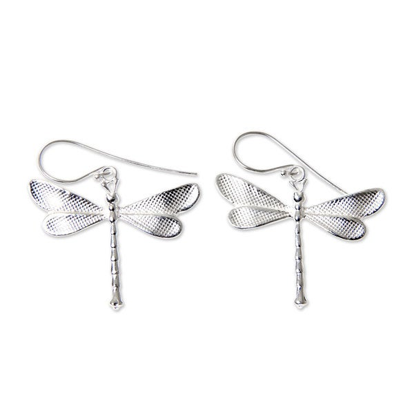 Handmade Sterling Silver X27 White Dragonfly Earrings Indonesia