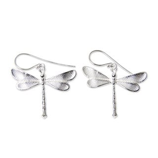 Handcrafted Sterling Silver 'White Dragonfly' Earrings (Indonesia)