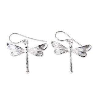 Handmade Sterling Silver 'White Dragonfly' Earrings (Indonesia)