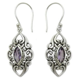 Handcrafted Sterling Silver 'Royal Seal' Amethyst Earrings (Indonesia)