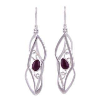 Handcrafted Sterling Silver 'Lyrical' Amethyst Earrings (Peru)