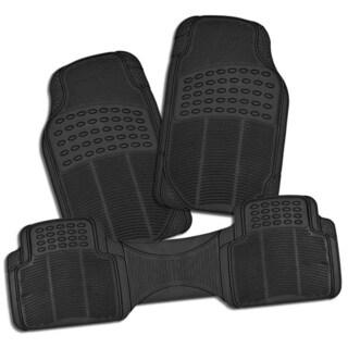 Zone Tech All-weather Black Rubber Semi Pattern 3-piece Heavy Duty Car Interior Floor Mats