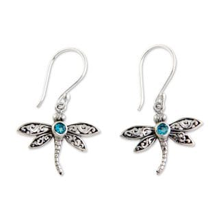 Handcrafted Sterling Silver 'Enchanted Dragonfly' Blue Topaz Earrings (Indonesia)