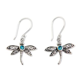 Handmade Sterling Silver 'Enchanted Dragonfly' Blue Topaz Earrings (Indonesia)