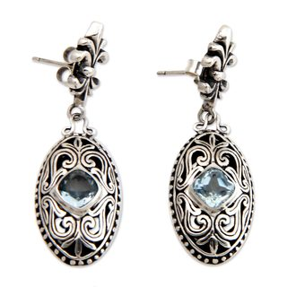 Handcrafted Sterling Silver 'Jungle Kingdom' Blue Topaz Earrings (Indonesia)