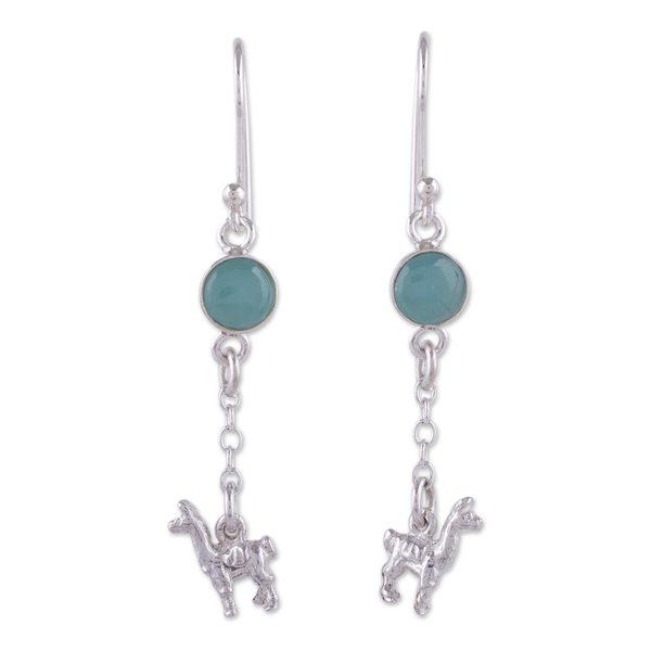 407cab55d Shop Handmade Sterling Silver 'Llama Light' Opal Earrings (Peru ...