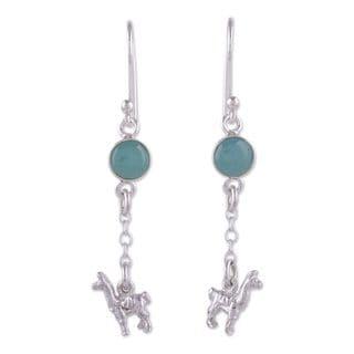 Handcrafted Sterling Silver 'Llama Light' Opal Earrings (Peru)