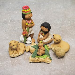 Set of 7 Handmade Ceramic 'Born in the Amazon' Nativity Scene Sculptures (Peru)