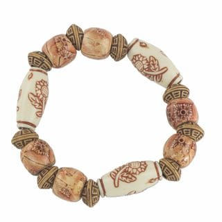 Handcrafted Sese Wood Recycled Plastic 'Blessed Flowers' Bracelet (Ghana)