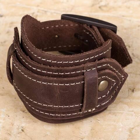 "Handmade Leather 'Rugged Brown' Bracelet (Peru) - 7'6"" x 9'6"""
