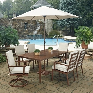 Key West 9 Pc. Rectangular Outdoor Dining Table; 4 Arm Chairs; 2 Swivel Rocking Chairs with Umbrella & Base by Home Styles