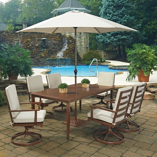 key west 9 pc rectangular outdoor dining table 6 swivel rocking chairs with umbrella base by. Black Bedroom Furniture Sets. Home Design Ideas