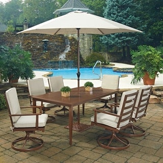 Key West 9 Pc. Rectangular Outdoor Dining Table; 6 Swivel Rocking Chairs with Umbrella & Base by Home Styles