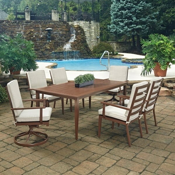 Key West 7 Pc. Rectangular Outdoor Dining Table with 4 Arm Chairs & 2 Swivel Rocking Chairs by Home Styles