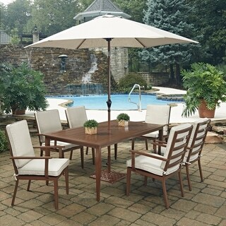 Key West 9 Pc. Rectangular Outdoor Dining Table; 6 Chairs with Umbrella & Base by Home Styles