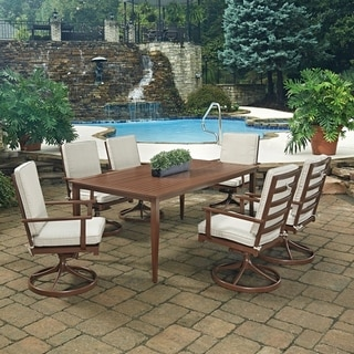 Key West 7 Pc. Rectangular Outdoor Dining Table& 6 Swivel Rocking Chairs by Home Styles