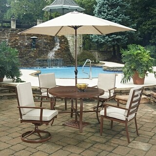 Key West 7 Pc. Round Outdoor Dining Table& 2 Swivel Rocking Chairs, 2 Arm Chairs, with Umbrella & Base by Home Styles