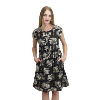 Relished Women's Front-zip Palm Leaf Dress