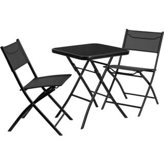 Offex Outdoor Black Metal Square Table and 2 Folding Chairs
