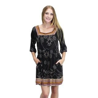 Relished Women's Black Rayon Boho-print Dress