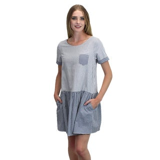 Relished Women's Blue Cotton Striped Pocket Dress