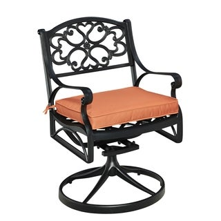 Home Styles Biscayne Black Swivel Rocker with Cushion