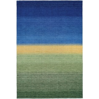 Couristan Oasis Greener Pastures Ocean Blue-Grass Wool Area Rug - 8' x 11'6