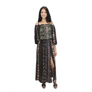Relished Women's Black Rayon Off-the-shoulder Floral Maxi Dress