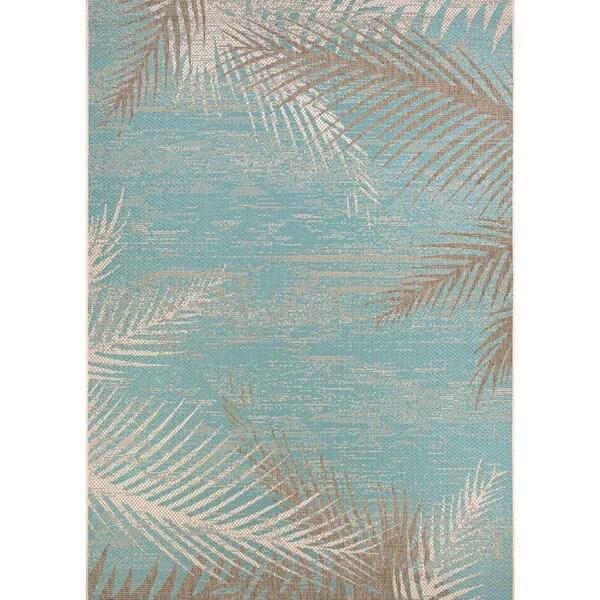 Samantha Coconut Creek Turquoise-Ivory-Beige Indoor/Outdoor Rug - 7'6 x 10'9