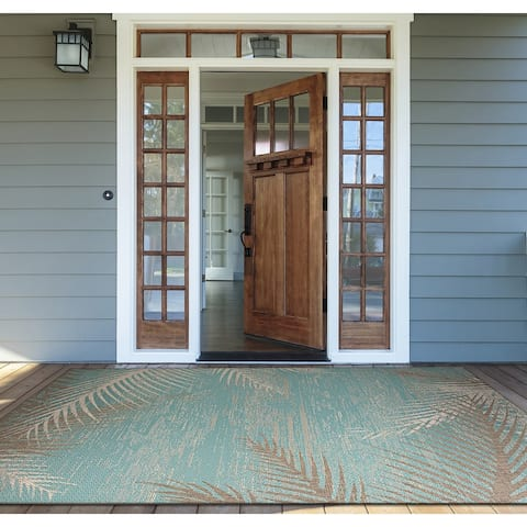 "Samantha Coconut Creek Soft Blue-Green-Beige Indoor/Outdoor Rug - 7'6"" x 10'9"""