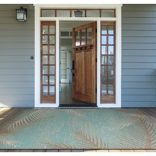 Couristan Monaco Tropical Palms Aqua Polypropylene Indoor/Outdoor Area Rug (8'6 x 13')
