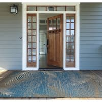 Samantha Coconut Creek/ Blue- Beige Indoor/Outdoor Rug - 7'6 x 10'9