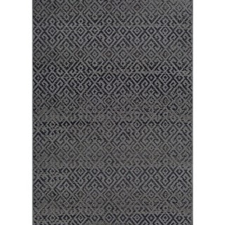 "Samantha Greek Key Black Indoor/Outdoor Area Rug - 8'6"" x 13'"