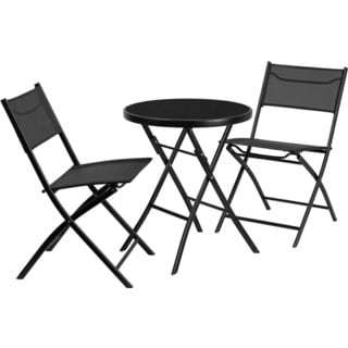 Offex Outdoor Metal Round Table and 2 Folding Chairs