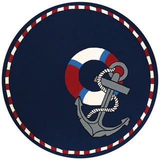 "Picadilly Ancora Navy Indoor/Outdoor Round Rug - 7'10"" Round"