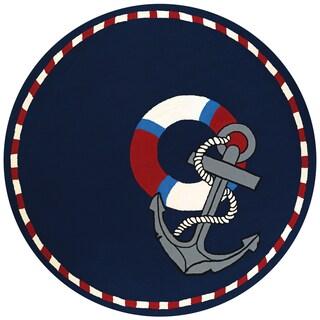 Couristan Outdoor Escape Anchors Away Navy Indoor/ Outdoor Area Rug (7'10 Round)