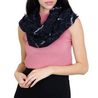 LA77 Women's Black Nylon Blend Infinity Scarf