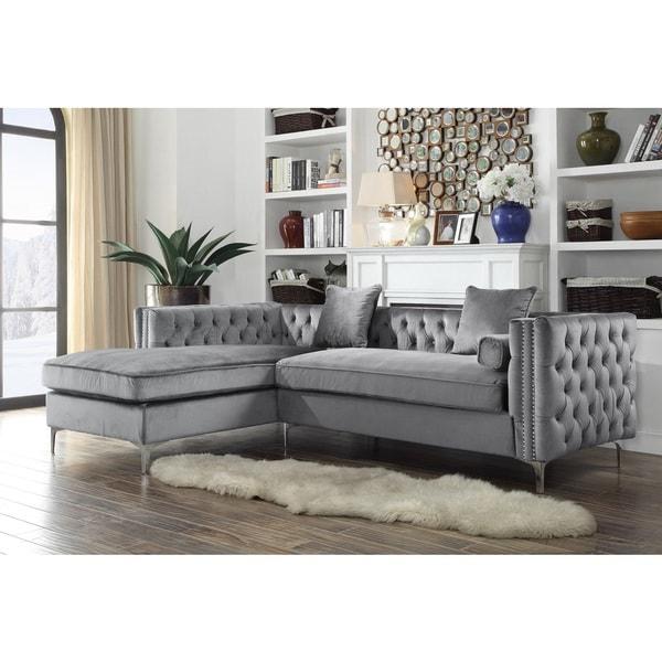 Silver Sectional Sofa Silver Gray Velvet Sectional Sofa: Shop Chic Home Monet Velvet Silvertone Metal Y-leg Left