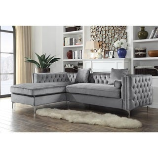 Attractive Chic Home Monet Velvet Silvertone Metal Y Leg Left Facing Sectional Sofa,  Grey