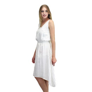 Relished Women's White Rayon and Nylon Pin-stripe Midi Dress