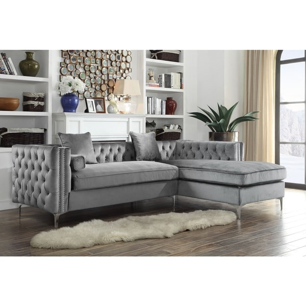 Fresh Chic Home Monet Velvet Silvertone Metal Y leg Right Facing Sectional Sofa Grey HD - Inspirational Grey Velvet Sectional sofa Contemporary